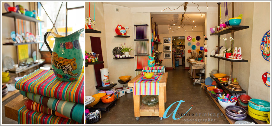 inside the ceramica blue shop with bright colours and ceramics from all over the world