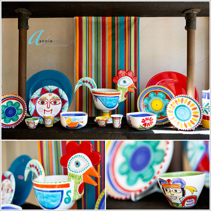 the desimone ceramic range from Italy at ceramica blue in Nothing hill london showing yellow , red, blue brightly coloured plates, cups, saucers and crockery