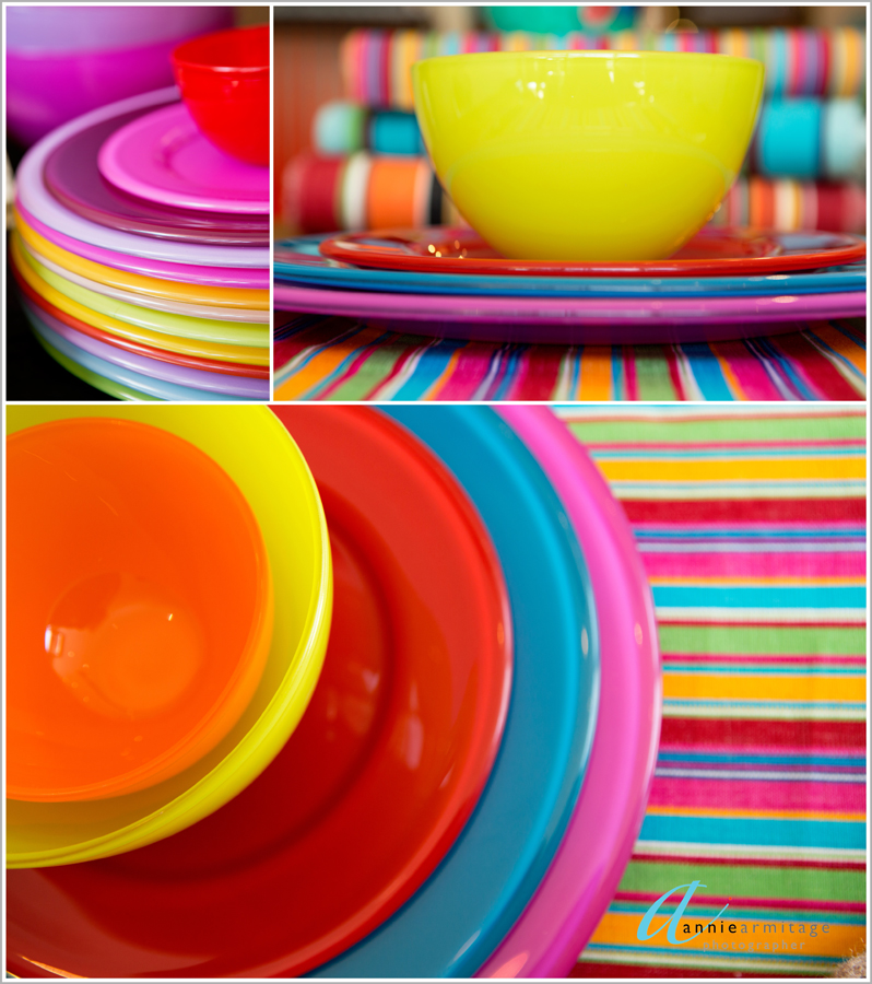 yellow, blue, red, pink plates and brightly coloured tableclothsThe fabulous Asti range of recycled glass tableware from Spain in these bright summer colours just brings some sunshine into our winter.