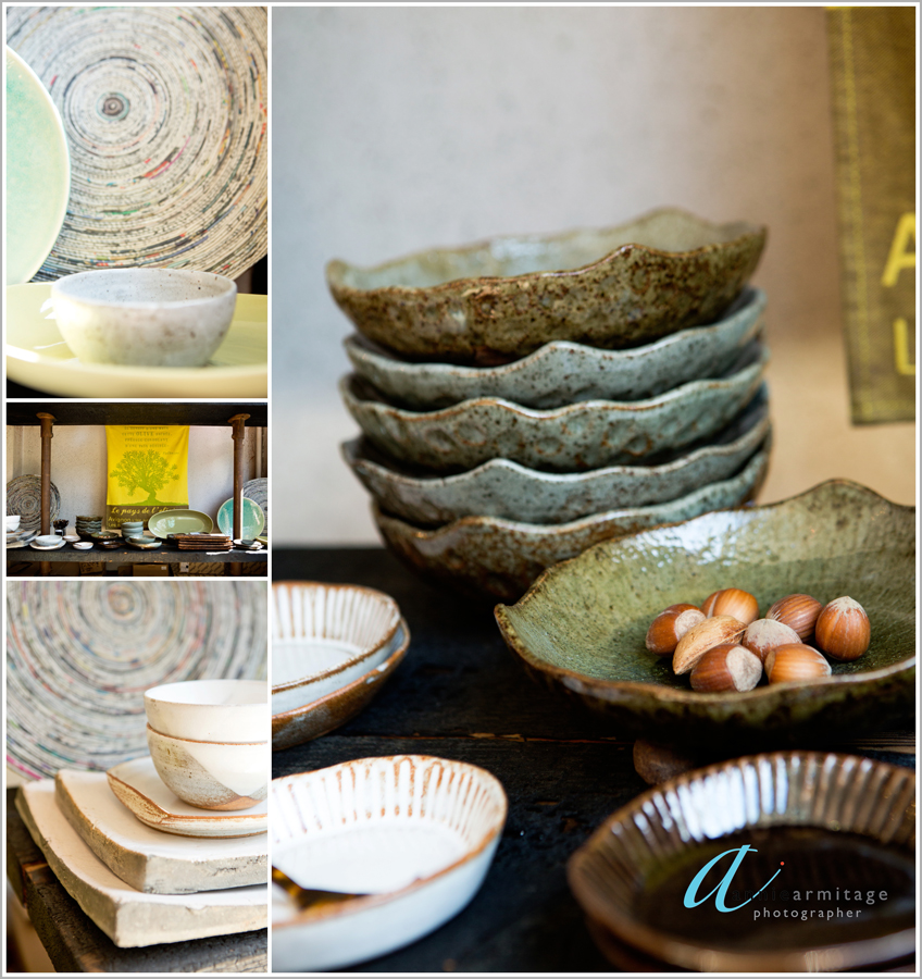 earthen ware in colours of green, beige hand made ceramics at notting hill london ceramica blue
