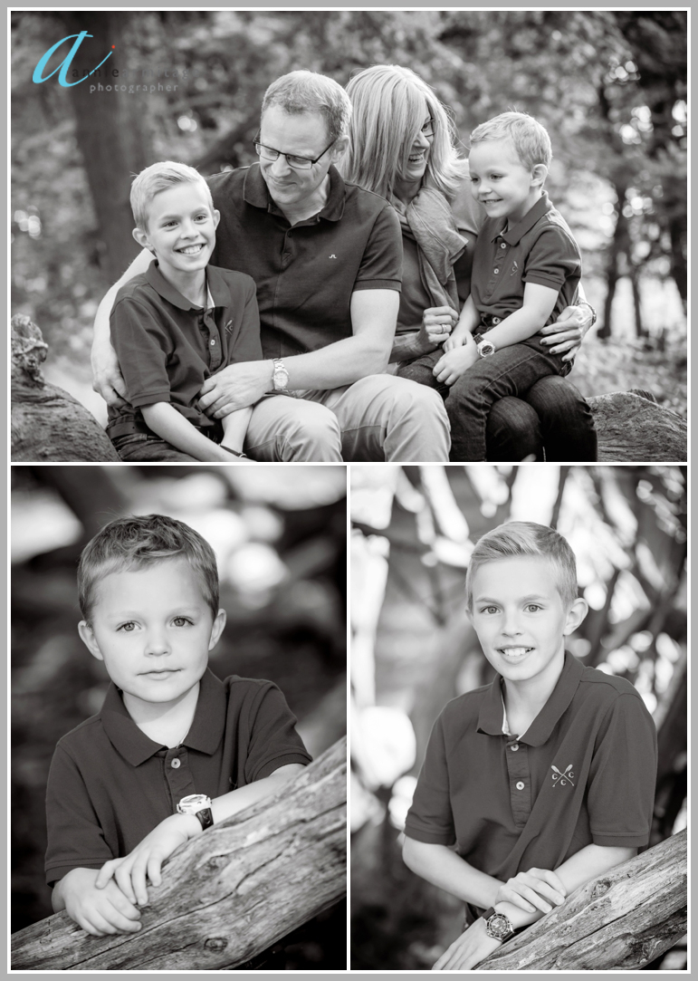 Three photos with the Swedish family who live in Wimbledon cuddling their two boys in the woods and two boy portraits in black and white