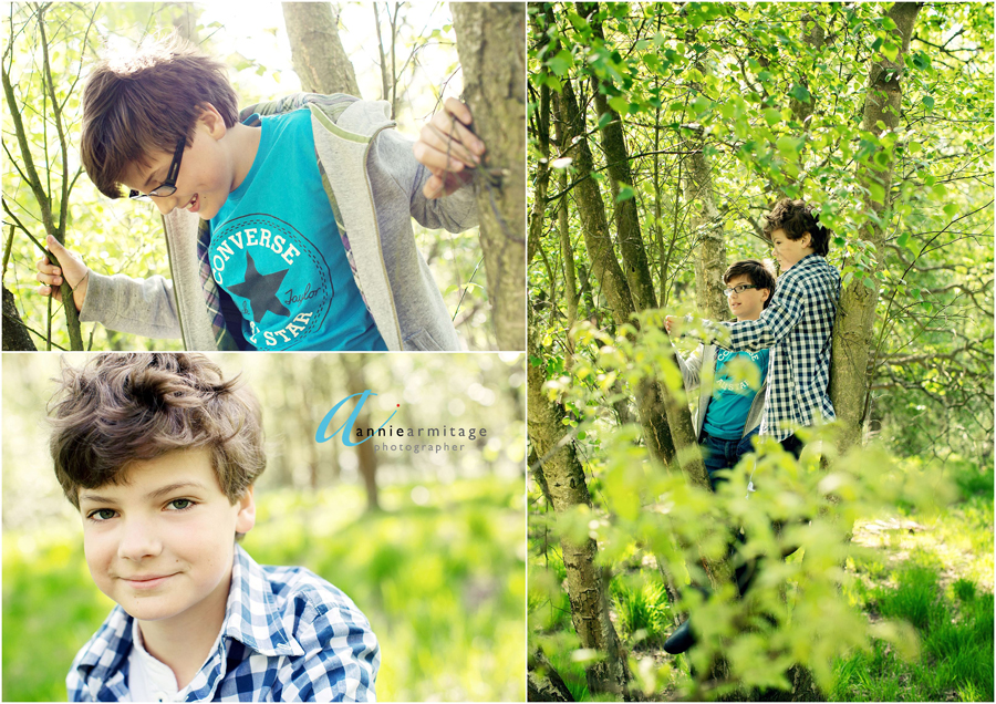 two boys in a tree and two boy's portraits in the spring on wimbledon common