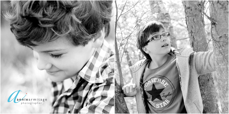 a black and white photo of a boy's portrait and a boy with glasses climbing a tree on Wimbledon Common