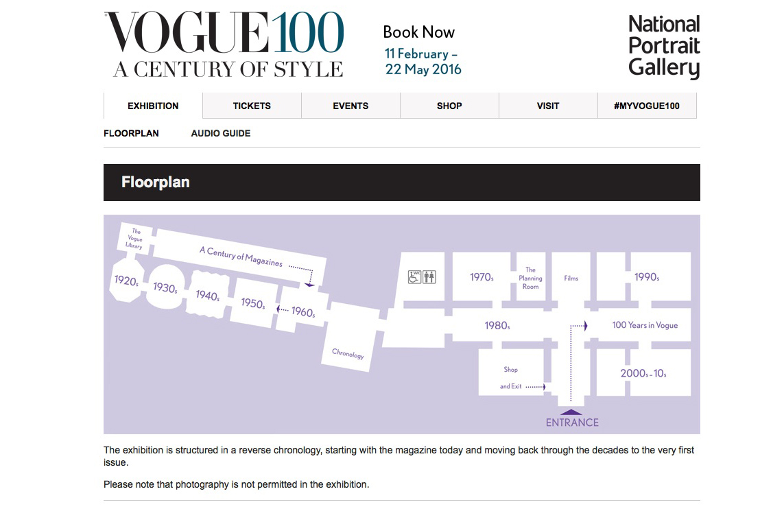 floor plan of the Vogue 100 exhibition at the national portrait gallery London
