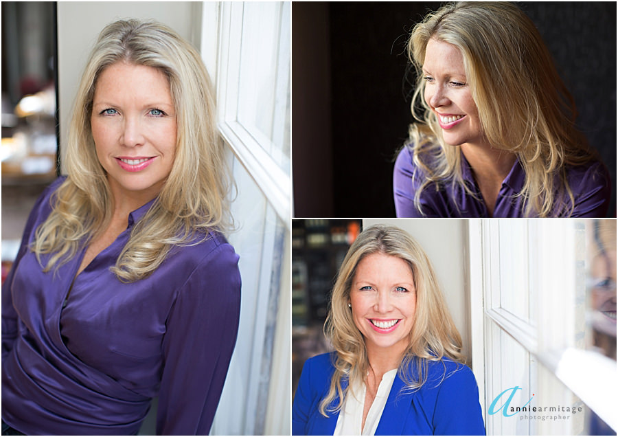 three images of a woman with long blonde hair sitting by a window with a blue jacket and a purple top at Mews of Mayfair London