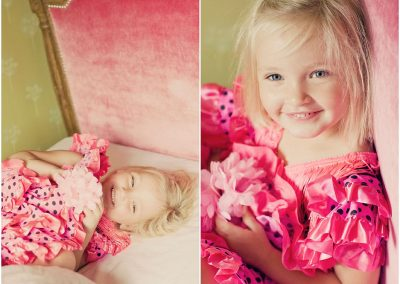 a 6 year old girl wearing a pink flamenco dress laughing on her bed in Kingston upon Thames