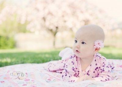 a 3 month old baby wearing a pink dress which cherry blossom in the background in Wandsworth
