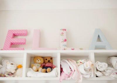 fabric Ella letters in baby nursery in Surbiton
