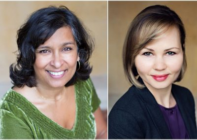 Headshot Surrey polish woman in finance wearing a navy blue suit and an asian woman wearing an olive green top