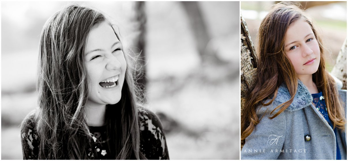 The dark haired teenage girl laughing in the park in black and white and a colour image of the same girl wearing her blue coat