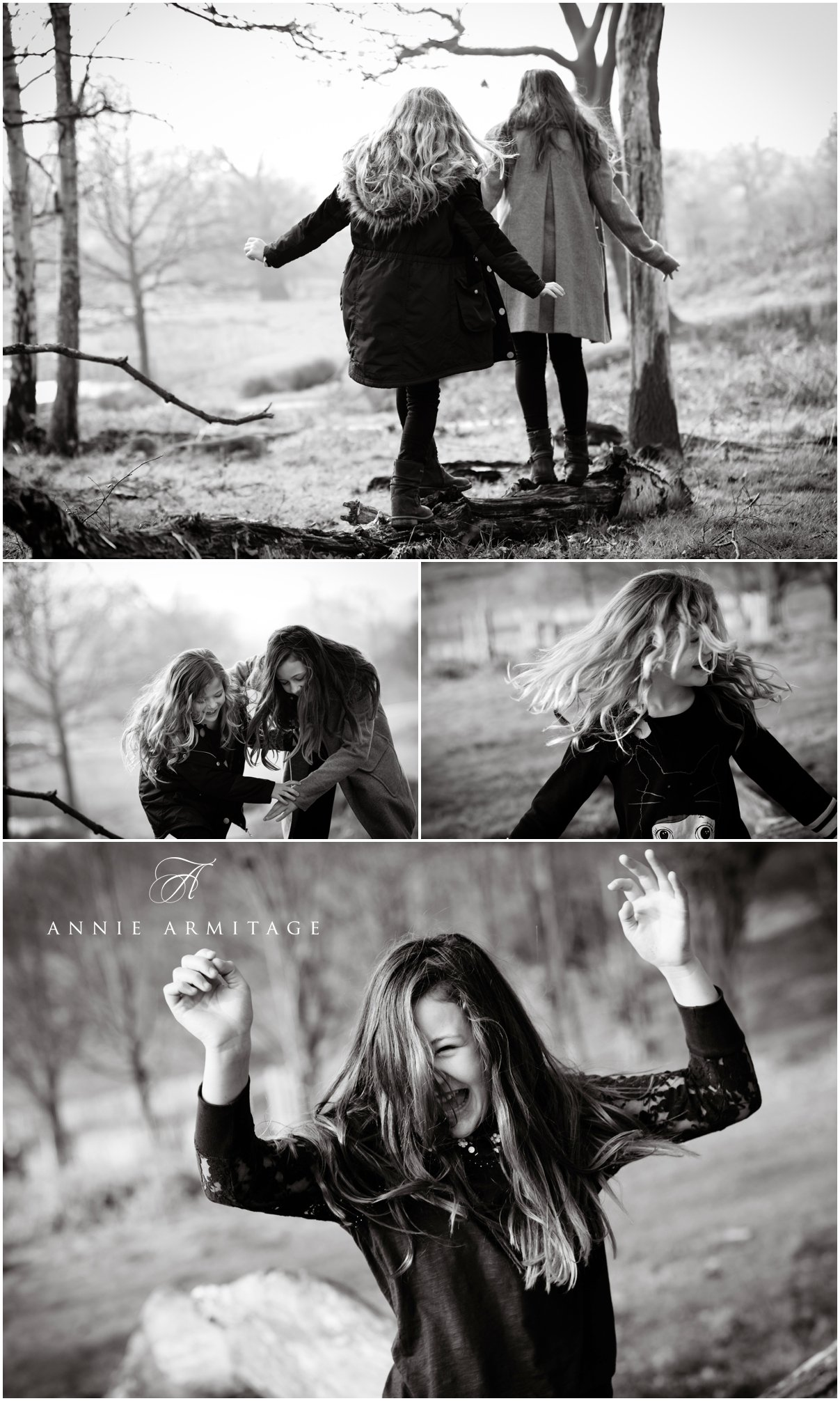two teenage sisters playing in the park by balancing on a log and laughing together the images are in black and white