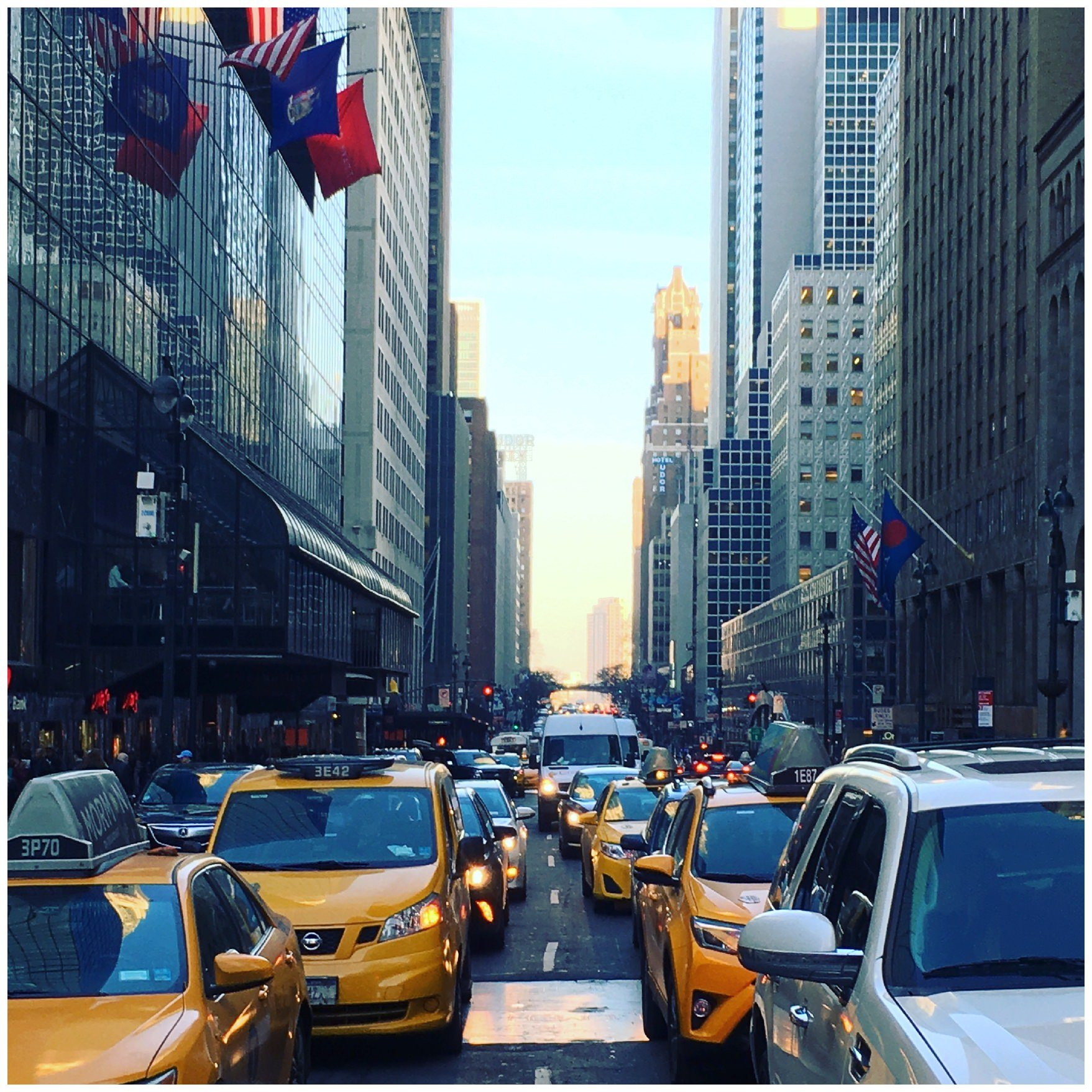 cars filling the streets particularly with yellow cabs in new york city