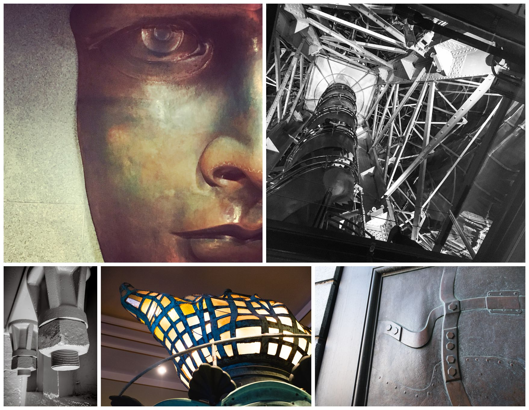 a montage of images showing the inside of the statue of iliberty