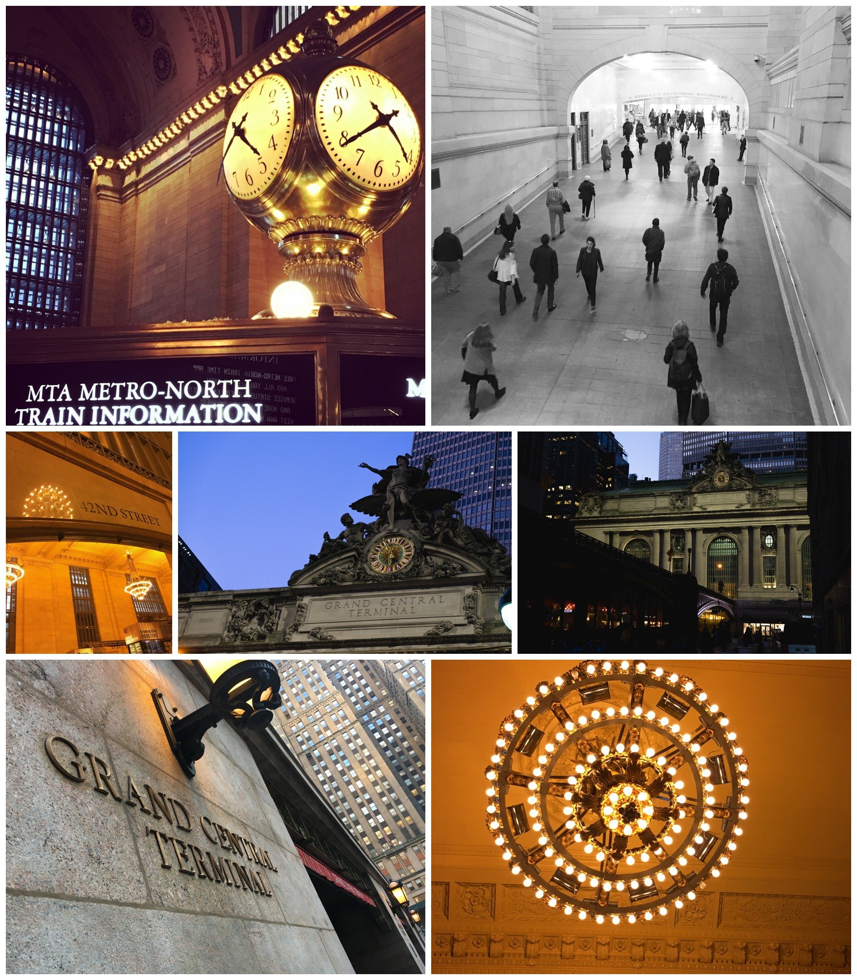 a montage of pictures of grand central station in new york city including the clock, people, chandeliers and an outside view