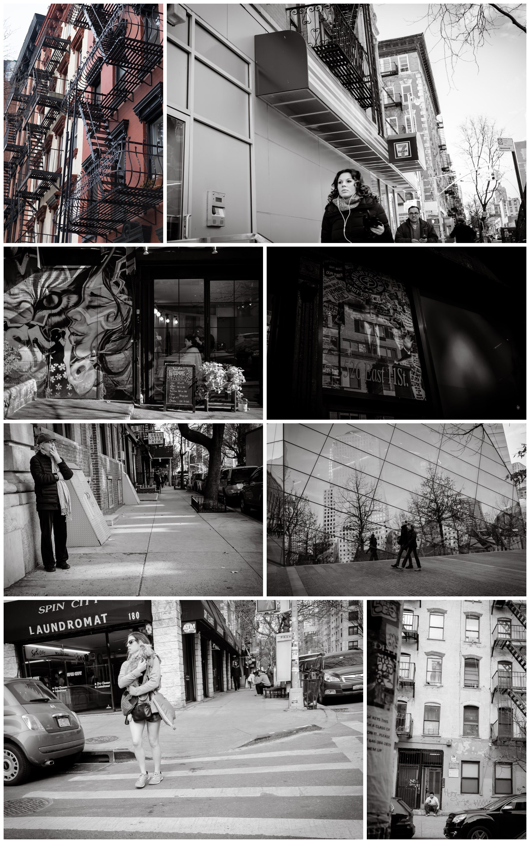 a montage of black and white images of street photography including reflections, old characterful men on streets