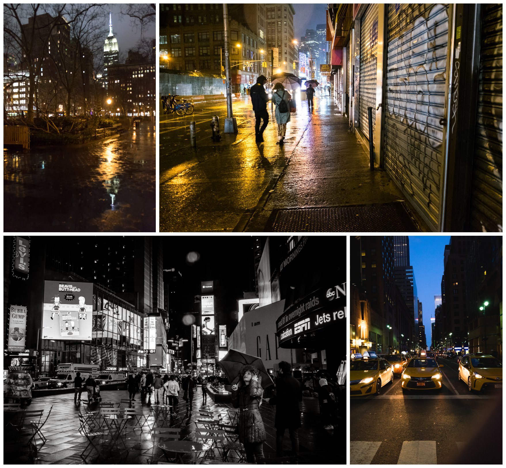 New York city at night with the reflections and colour of the buildings in the puddles