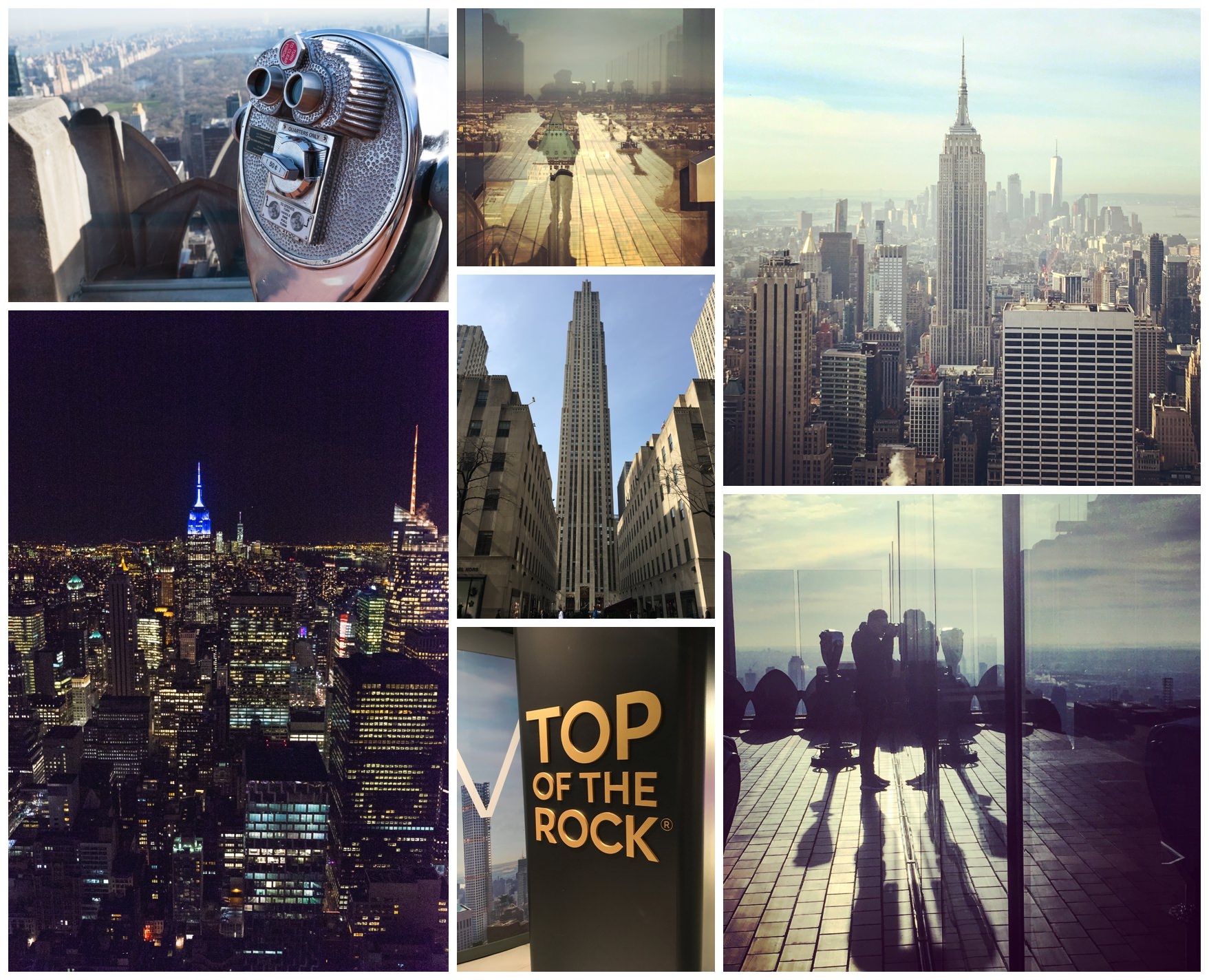 Views from the Rockefeller building overlooking new york city at day and night