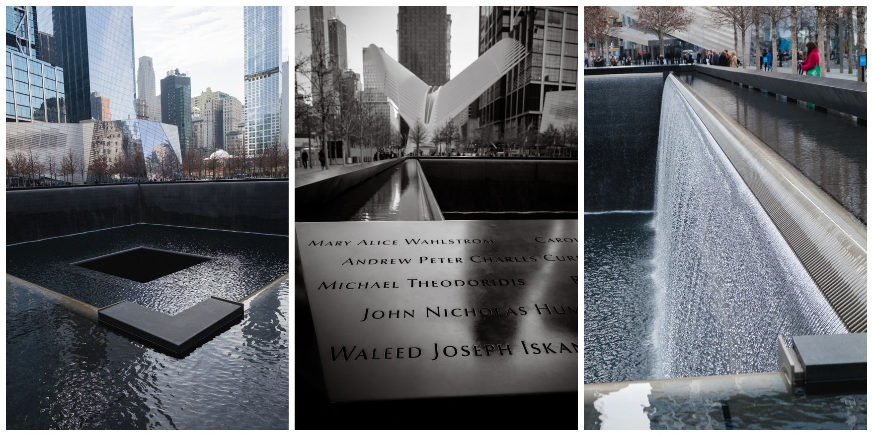 9/11 memorial showing the names engraved of those who perished and the flowing water