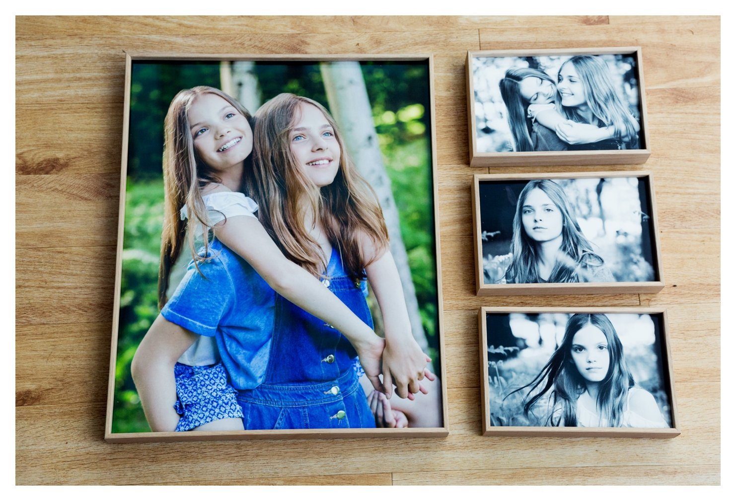 a frame with multiple images in it showing the story of the portraits in the park or lifestyle family photography session