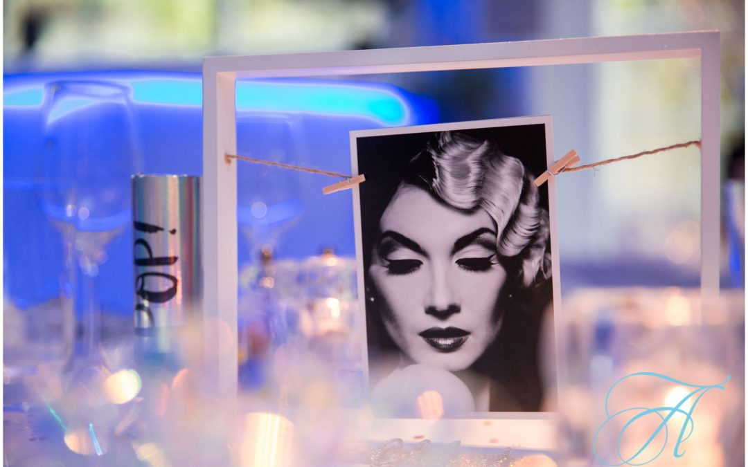 table decorations featuring movie stars