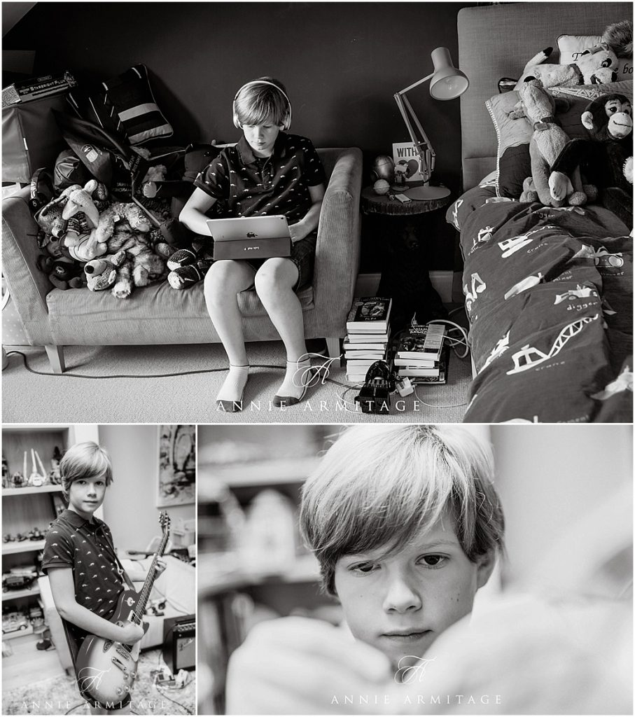 three black and white images in a montage showing a teenage boy playing with his lego, his electric guitar and also on sitting on his sofa surrounded by cuddly toys while working on his laptop