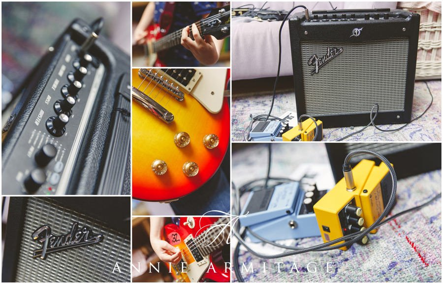 Detail images in a montage of an electric guitar and a fender rhodes amp and foot pedal