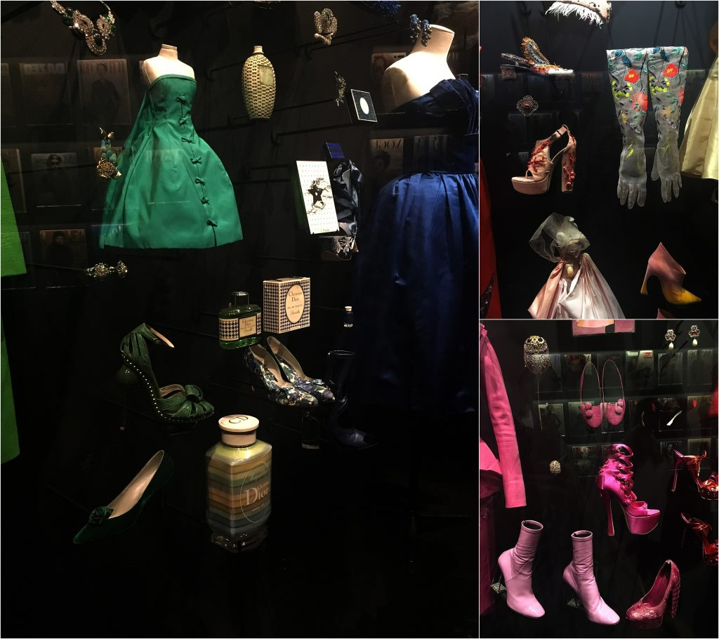 Accessories shoes, gloves hats at the Dior exhibiition
