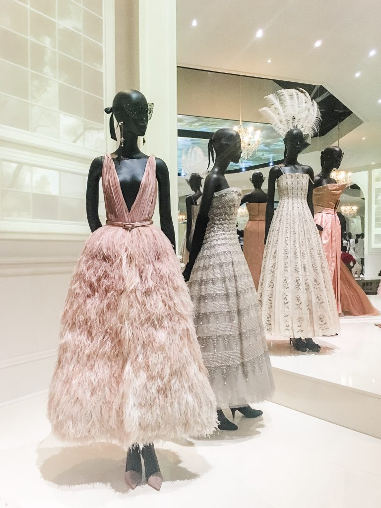 pinks and greys tulle dior dresses at the V&A