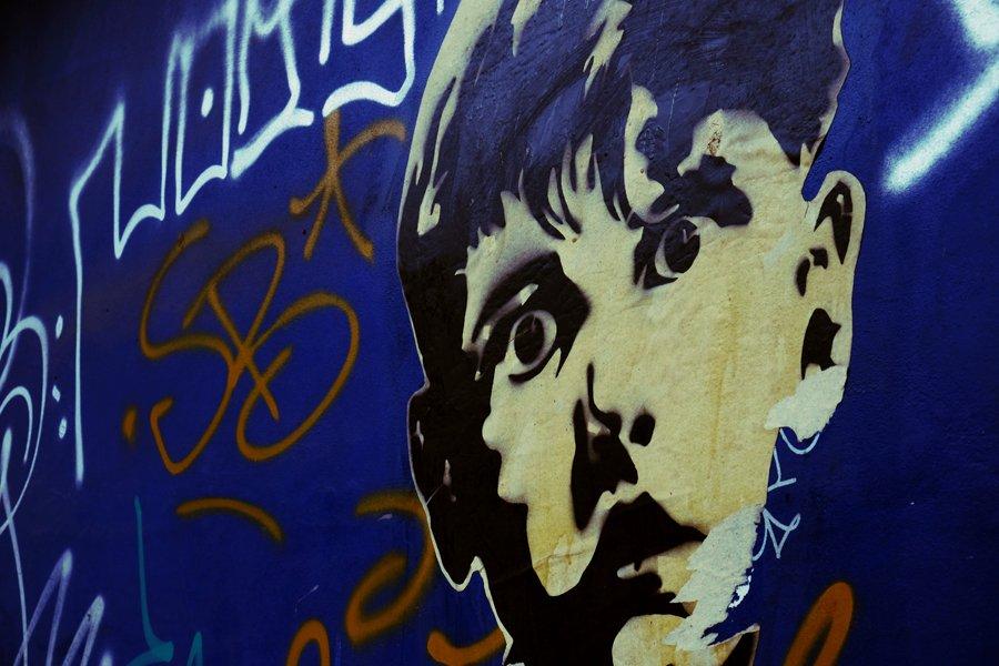 Arturo face graffiti in Palermo Buenos Aires Argentina