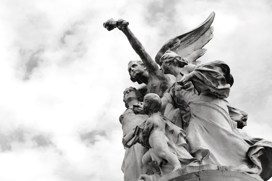 black and white image of statue in Buenos Aires Argentina