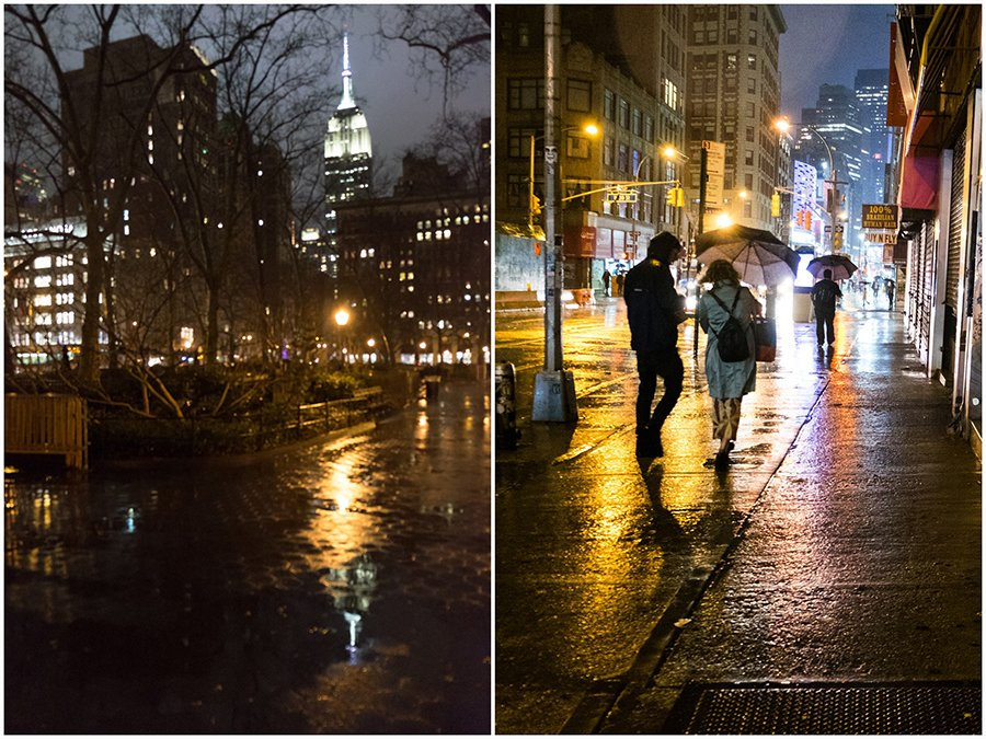 Manhattan at night in the rain