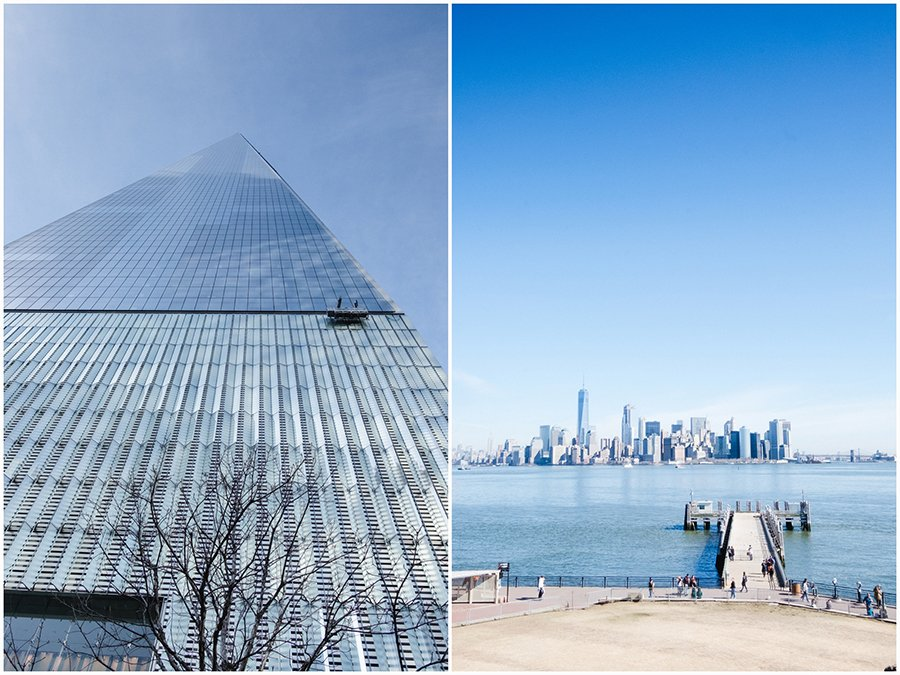 Montage of images looking up towards the top of One World Trade Center and an image from Liberty island with a jetty looking towards Manhattan