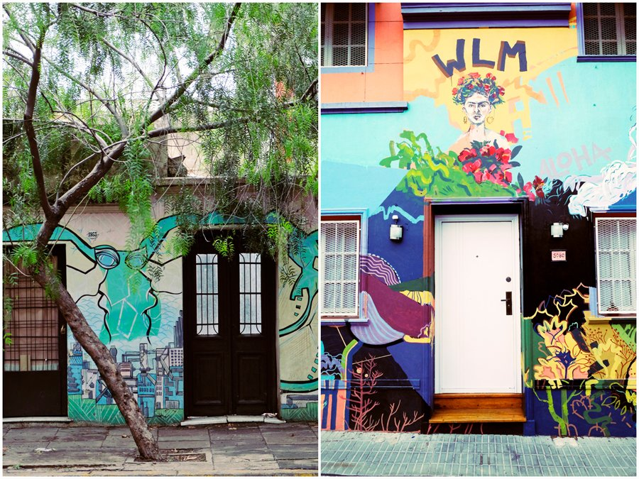 colourful murals on the front of houses in Palermo, Buenos Aires Argentina
