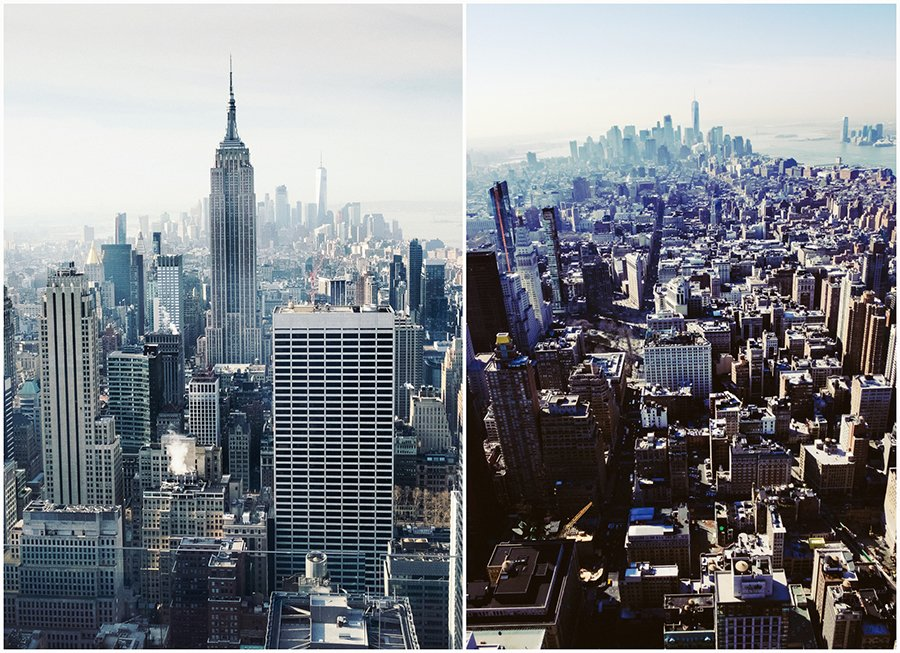 montage of the view from the Rock overlooking Manhattan and with the empire state building in the centre of the frame