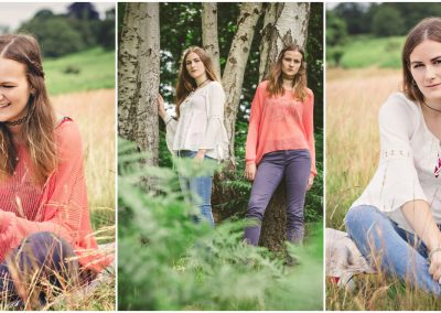 a montage of three colour images showing two teenager sisters sitting in a grass meadow and also standing in silverbirch wood surrounded by green ferns