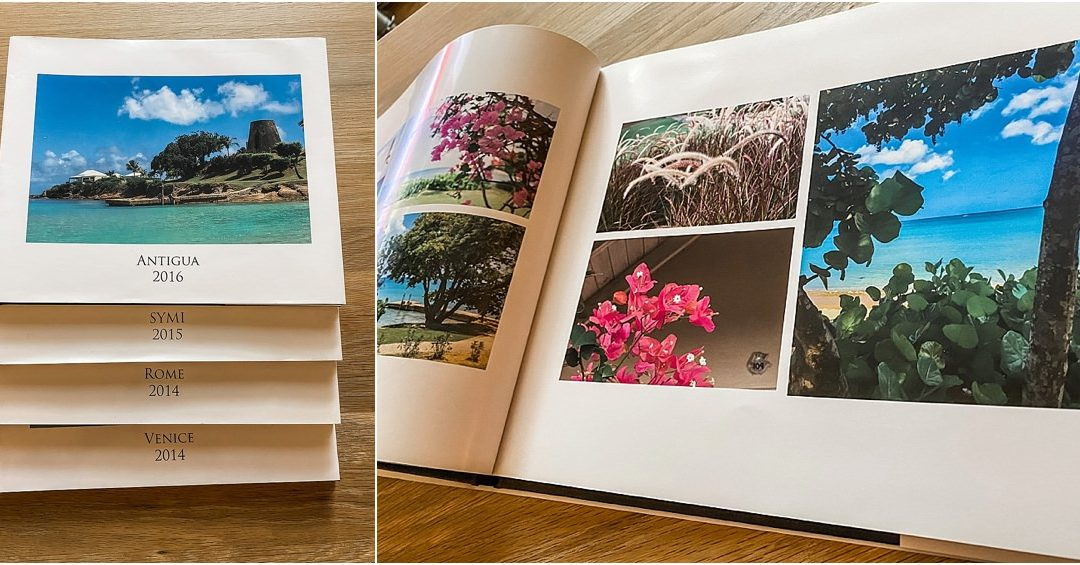 A montage of two images showing photo books created by Blurb one featured is a book on Antigua